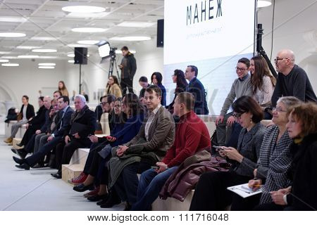 ST. PETERSBURG, RUSSIA - DECEMBER 13, 2015: Spectators of the round table discussion in the central exhibition hall Manege during 4th St. Petersburg International Cultural Forum