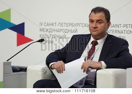 ST. PETERSBURG, RUSSIA - DECEMBER 14, 2015: Deputy Minister of Culture of Russian Federation Grigory Pirumov at the plenary meeting during 4th St. Petersburg International Cultural Forum