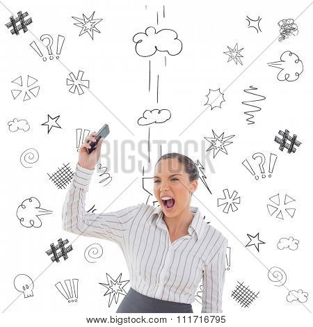 Offended businesswoman screaming and throwing her mobile phone against swearing doodles