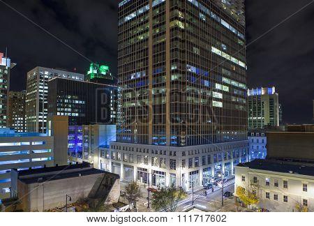 Close rooftop view of modern city at night, Raleigh North Carolina