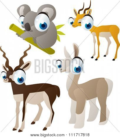 vector cute cartoon set of comic animals: koala, antelope,impala, llama. useful for kids mobile apps, flash card games, invitations, wall decor and other