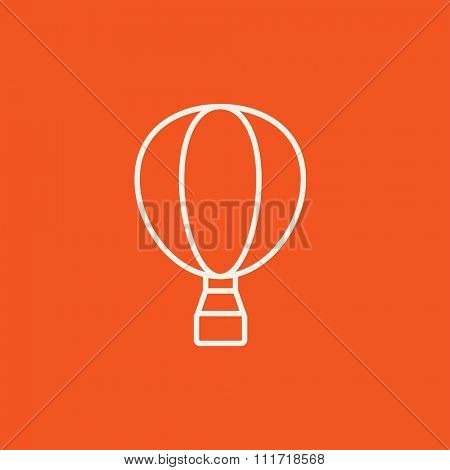Hot air balloon line icon for web, mobile and infographics. Vector white icon isolated on red background.