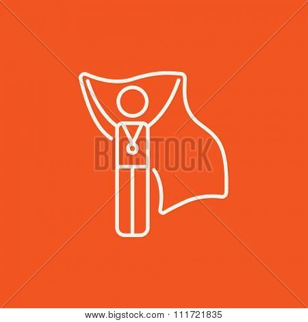 Medalist standing with flag line icon for web, mobile and infographics. Vector white icon isolated on red background.