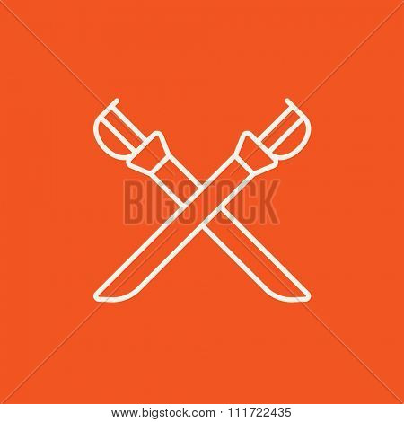Crossed saber line icon for web, mobile and infographics. Vector white icon isolated on red background.
