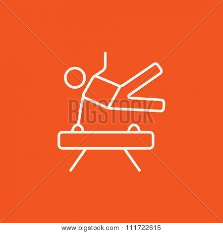 Gymnast exercising on the pommel horse line icon for web, mobile and infographics. Vector white icon isolated on red background.