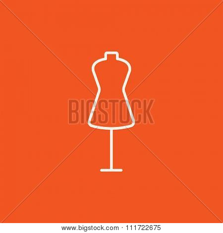 Mannequin line icon for web, mobile and infographics. Vector white icon isolated on red background.