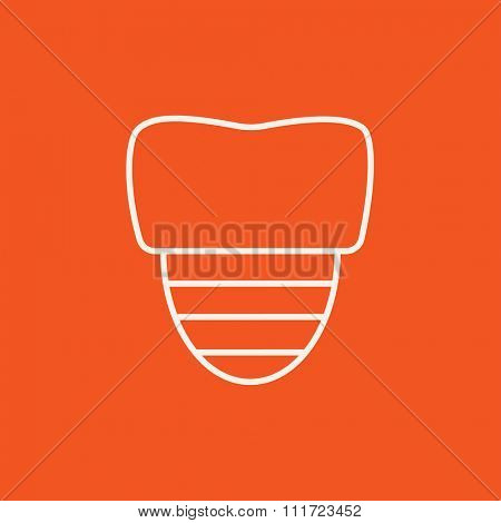 Tooth implant line icon for web, mobile and infographics. Vector white icon isolated on red background.