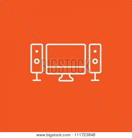 Home cinema system line icon for web, mobile and infographics. Vector white icon isolated on red background.