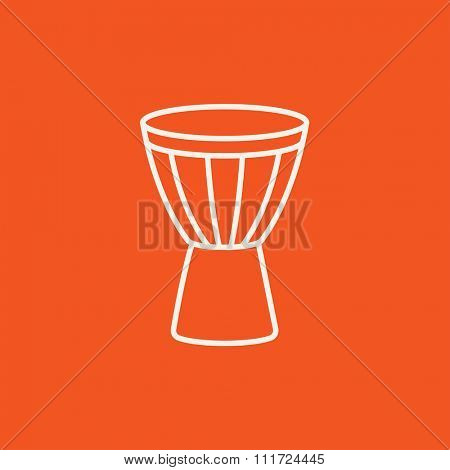 Timpani line icon for web, mobile and infographics. Vector white icon isolated on red background.