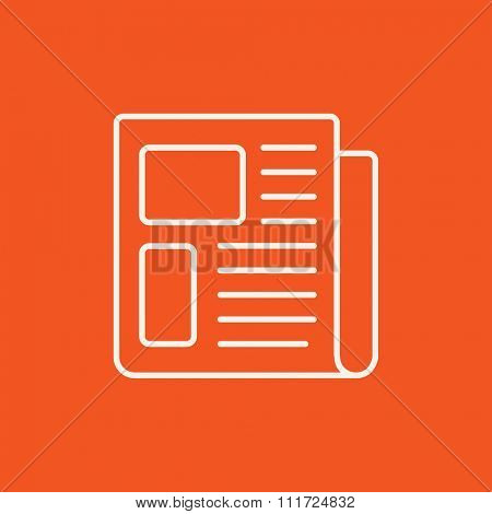Newspaper line icon for web, mobile and infographics. Vector white icon isolated on red background.