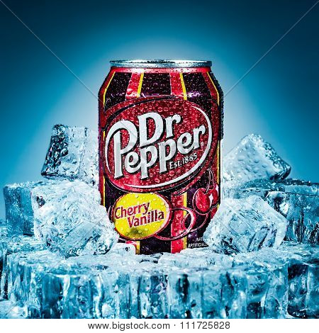 MOSCOW, RUSSIA-APRIL 4, 2014: Can of Dr Pepper Cherry Vanilla soft drink on ice. Dr Pepper is a soft drink marketed as having a unique flavor. The drink was created in the 1880s.