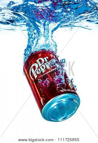 MOSCOW, RUSSIA-APRIL 4, 2014: Can of Dr Pepper Cherry Vanilla soft drink in water. Dr Pepper is a soft drink marketed as having a unique flavor. The drink was created in the 1880s.