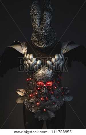 Queen silver armor skull with red eyes and led lights, helmet metal filigree