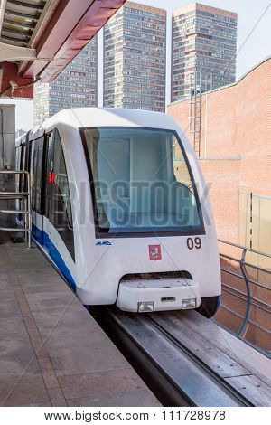 Moscow, Russia - September 25, 2015: Moscow monorail fast train on railway, close-up