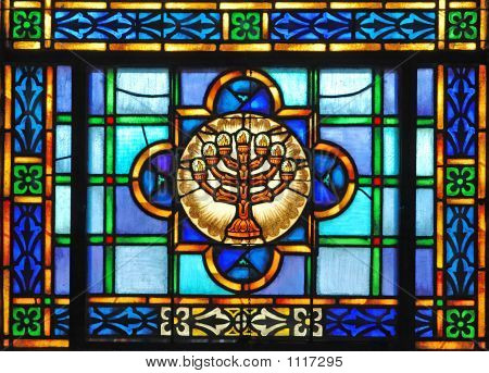 Stained Glass Menorah