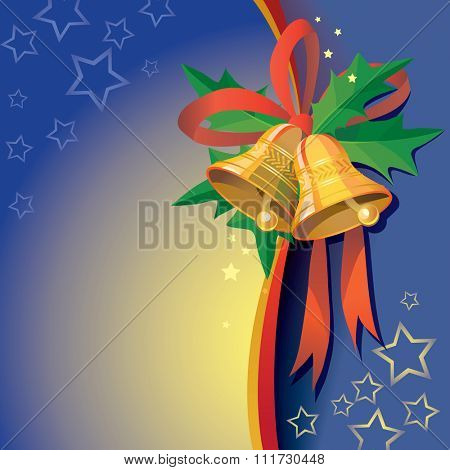 Christmas bells with ribbon and Holly berries - vector illustration