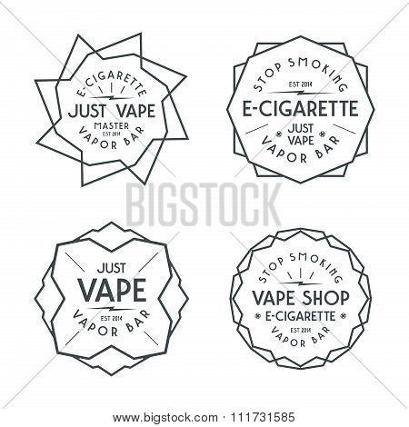 Vapor bar and vape shop labels. Black print on white background poster