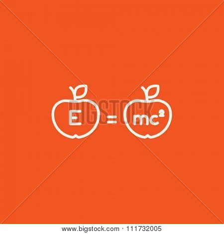 Two apples with formulae line icon for web, mobile and infographics. Vector white icon isolated on red background.