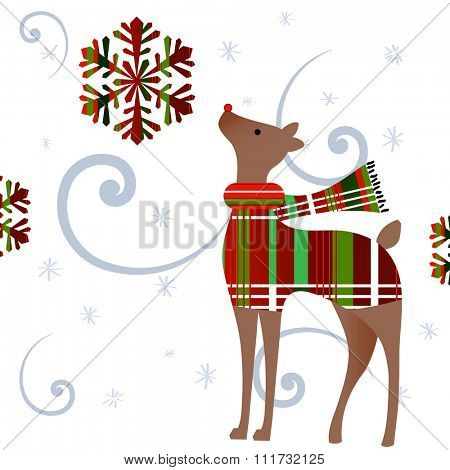 deer gazing at plaid snowflake  - wind and snow  - deer in sweater and scarf