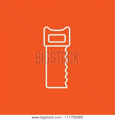 Saw line icon for web, mobile and infographics. Vector white icon isolated on red background.