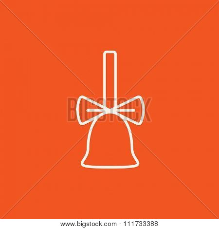 School bell with ribbon line icon for web, mobile and infographics. Vector white icon isolated on red background.