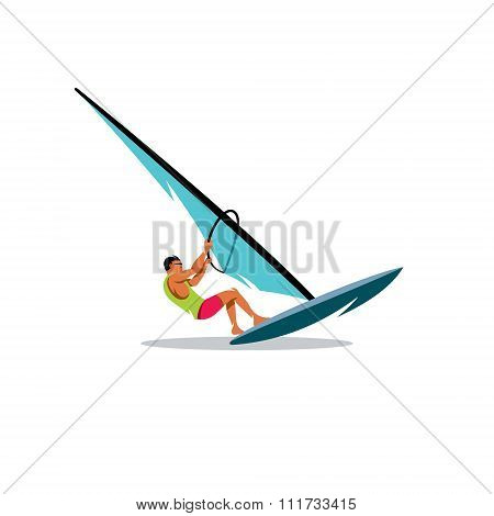 Windsurfing. Vector Illustration.