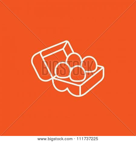 Eggs in a carton package line icon for web, mobile and infographics. Vector white icon isolated on red background.