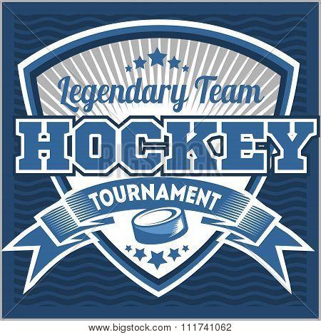 Hockey team logo template. Emblem, logotype template, t-shirt apparel design. Sport badge for tourna