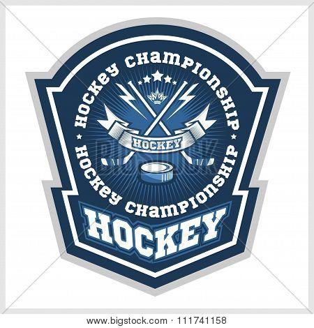 Hockey championship logo labels. Vector sport design