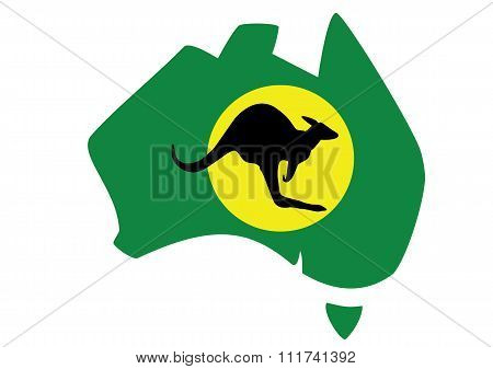 Green Map Of Australia With Kangaroo In Front Of Moon