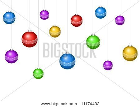 Card For The Holiday With Balls On The White Background