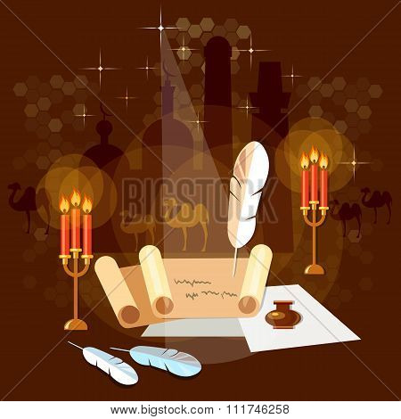 Ancient Scroll Paper Old Book Magic Poster Mystic Bright Light On Background Vector