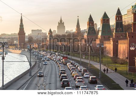 Moscow, Russia - December 11, 2015: Moscow Kremlin and the waterfront. Moscow. Russia