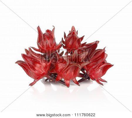 Fresh Roselle On White Background