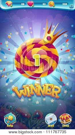 Sweet World Mobile Gui Game Winner Window