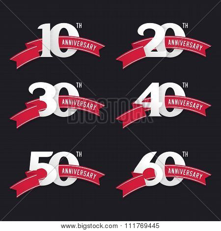 The set of anniversary signs from 10th to 60th.