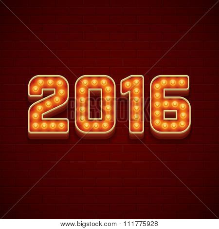 Happy New Year 2016 Greeting Card 3d Signage Letters LIght Bulbs Retro Style