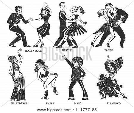 Popular Native Dance Black Icons Set