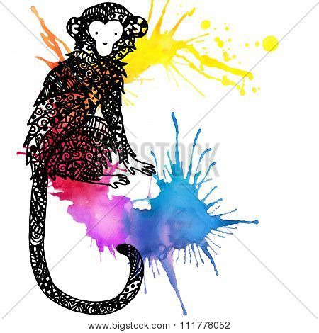 Monkey Year. New year and Christmas watercolor background with monkey. Monkey graphics. watercolor f