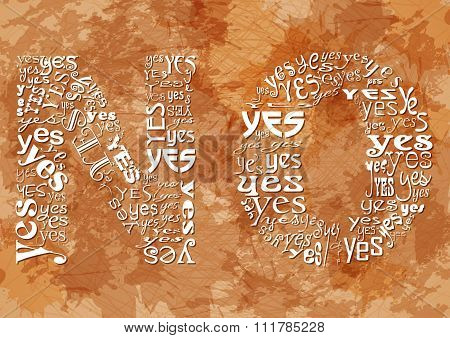 Word No Consisting Of Small Yes On Beige Grunge Background