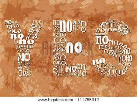 Word Yes Consisting Of Small No On Beige Grunge Background