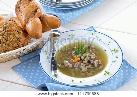 Liver noodle soup