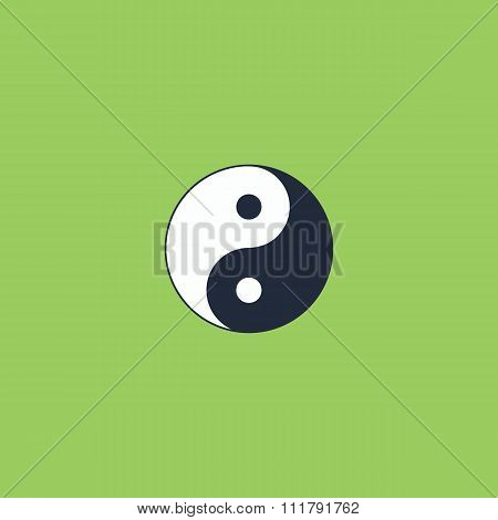 Ying yang symbol of harmony and balance. Colorful vector icon. Simple retro color modern illustration pictogram. Collection concept symbol for infographic project and logo poster