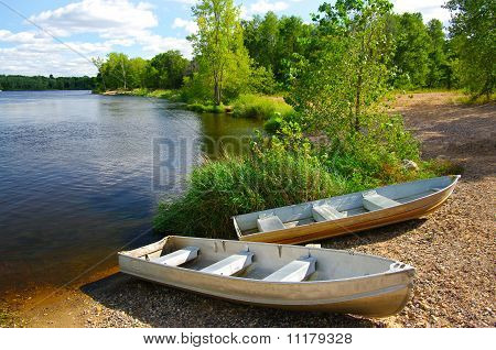 Small Boats on Shore