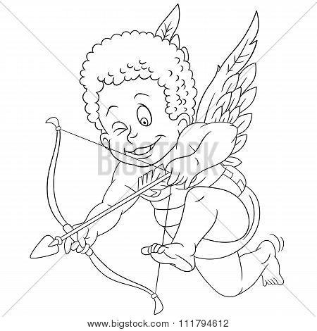 Cute Cartoon Aiming Cupid