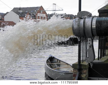 Flood water is pumped into River Ouse