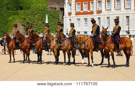 LONDON, UK - JULY 15. 2013:Mounted troopers of the Household Cavalry on duty at Horse Guards.