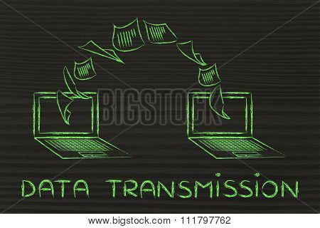 Laptops With Documents Flying From One Screen To The Other, Data Transmission