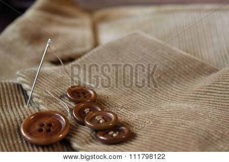 Buttons on the velvet jacket