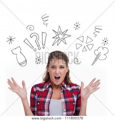 Shocked woman screaming against swearing doodles